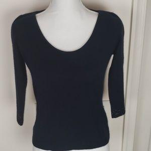 St. John Black Cashmere Sweater 3/4 Sleeve